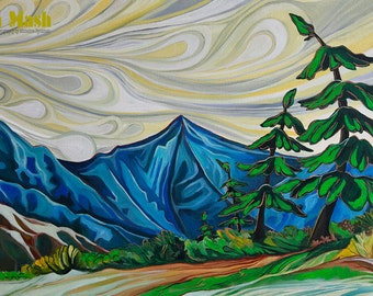 COMMISSION A PAINTING. Mountain lanscape painting, original, wall hanging, snow and group of seven style trees