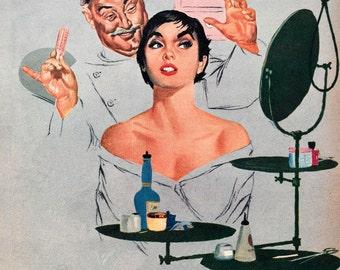 Vintage 1950's illustration Fridge Magnet hairdresser brunette pixie cut hairdo
