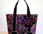 Colourful fabric tote bag/ Fabric handbag with black handles, neon yellow accents and a big flower