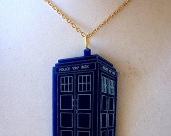 Big engraved TARDIS necklace.