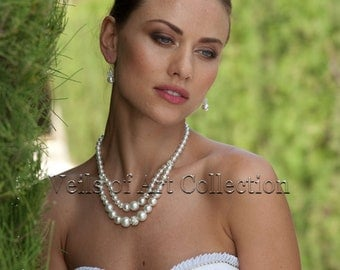 Faux Pearls Bridal Necklace and Earrings Set by Veils of Art VE405