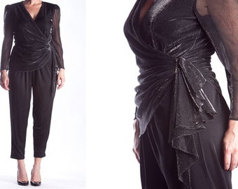 Vintage 1980s Shiny Black Jumpsuit