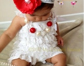White  Vintage Lace Petti Romper - Photo prop- Baptism outfit Christening outfit- Newborn - Baby Girl - Toddler