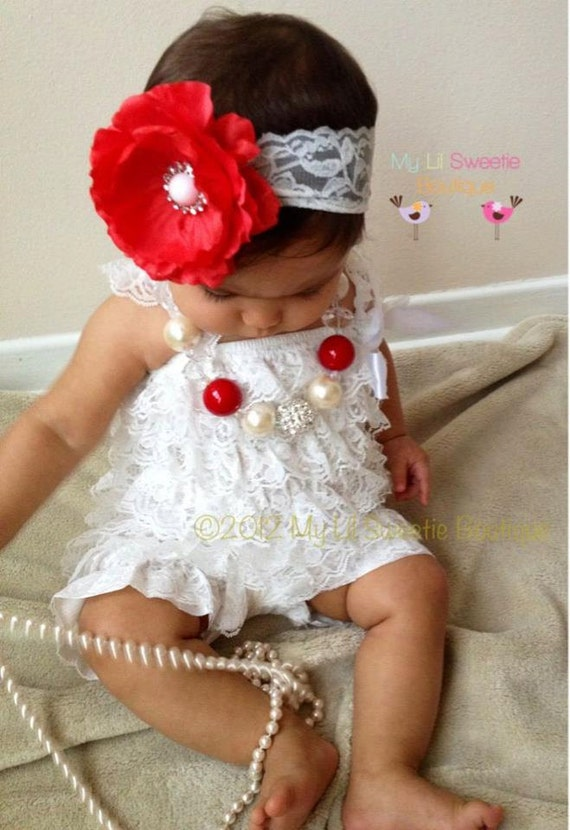 White Vintage Lace Petti Romper prop Baptism outfit