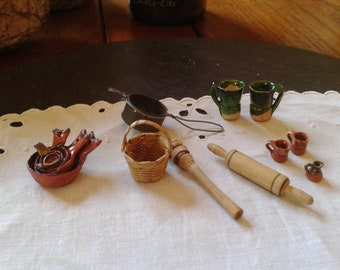 vtg 70s miniature mexican kitchen utensils set Halloween primitive folk art mini utensils rolling pin sifter basket bakeware mugs creamer