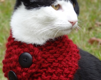 Dog Cowl Scarf  - Size MEDIUM Cranberry Pet Cowl - Custom colors - Knit Cowl Scarf for Dogs