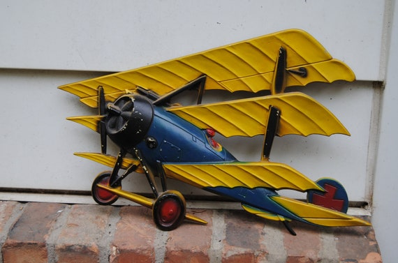 Vintage Plane Wall Decor : Vintage model airplane sexton metal wall decor made in
