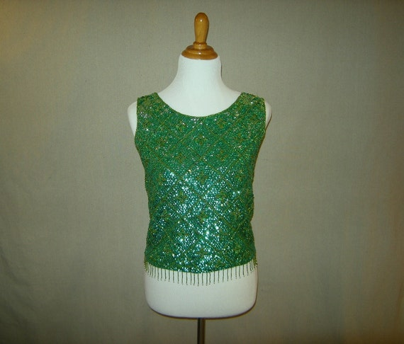 Vintage 1960s Green Beaded Sequin Sleeveless Zippered Top by Regalia Imports