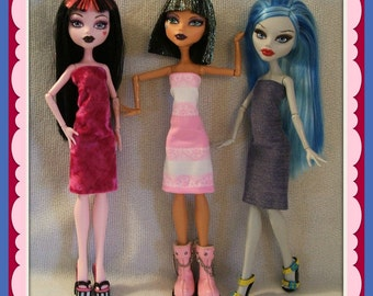 Lot of 3 Sweet Dresses Handmade for MONSTER H Dolls - Custom fashions by dolls4emma
