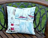 Seaside yacht lighthouse cushion pillow cover,  16 inches,