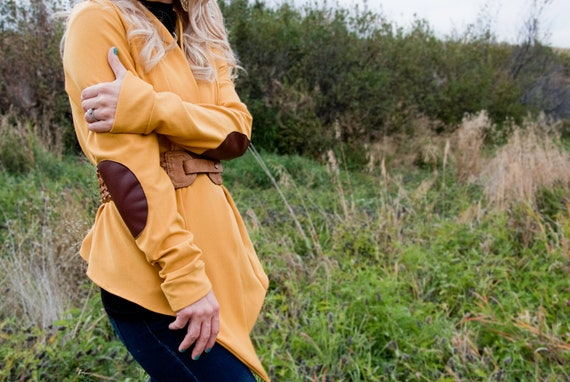 Mustard Yellow Cardigan With Elbow Patches