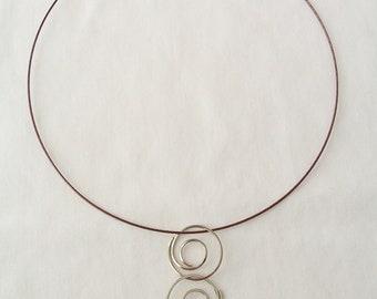 Metal triple swirl pendant necklace  - metal jewelry - silver swirl pendant - circular pendant - metal art necklace - swirl pendant jewelry