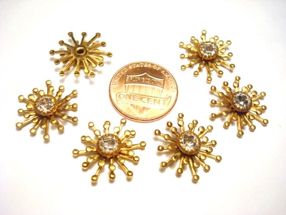 3 Vintage Swarovski Crystal Rhinestone Brass Snowflake Findings R86
