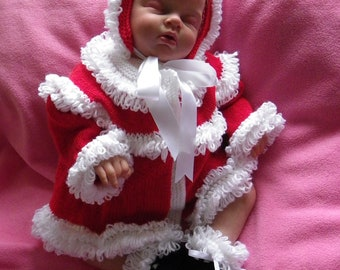 Hand knitted Baby Christmas Santa cardigan, bonnet and booties Made To Order 0-3 months - baby clothes - babies first Christmas