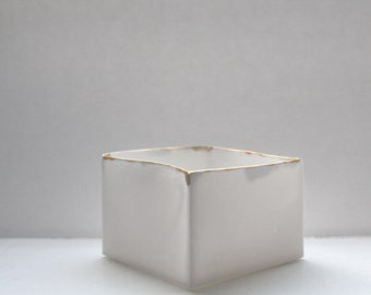 Big snow white cube made from English fine bone china and real gold rims - geometric decor