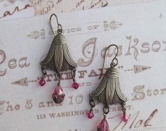 Vintaj Lotus Blossom Brass Swarovski Crystal Earrings
