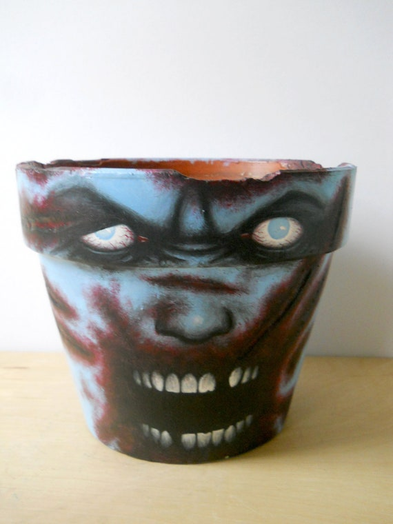 Items similar to zombie head large painted flower pot for Big pot painting designs