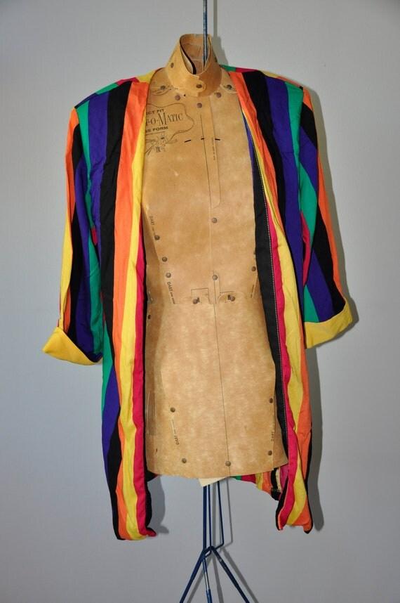 SALE // 1980s Colour Blocked Striped Blazer