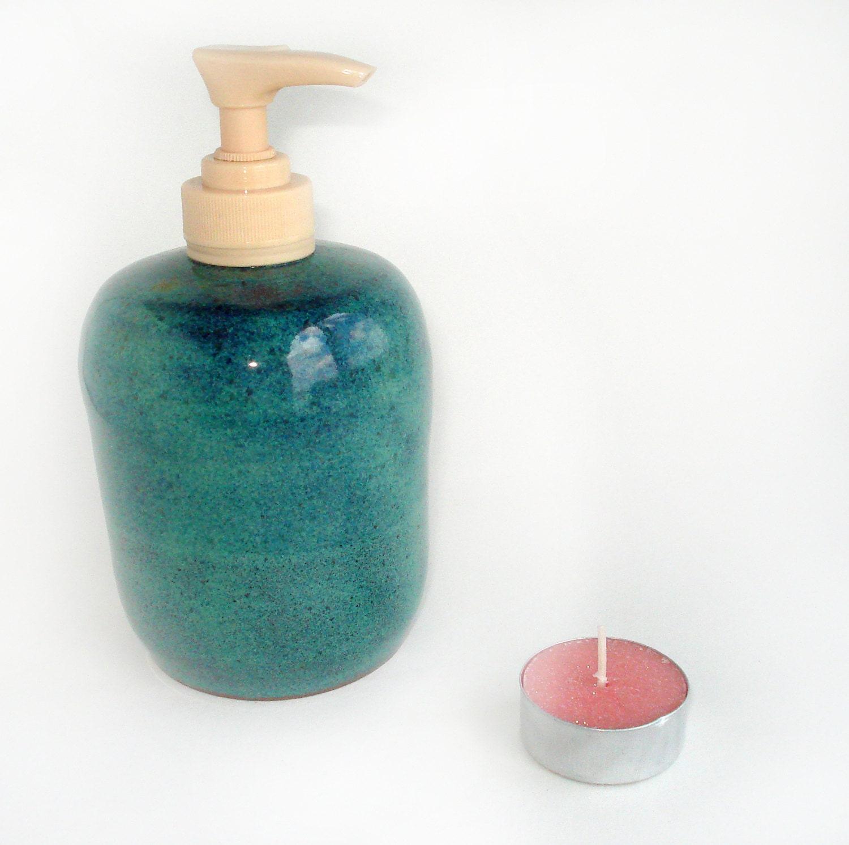 teal soap dispenser pottery lotion pump refillable bottle. Black Bedroom Furniture Sets. Home Design Ideas