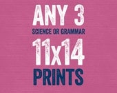 Set of Any 3 11x14 Prints - Grammar or Science - Grammatical Art Home Decor Gift Teacher Gift / Gifts for Teachers English Gifts