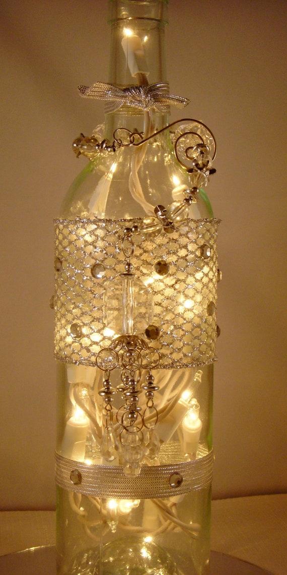 Items similar to christmas decoration wine bottle lamp for Champagne bottle lamp