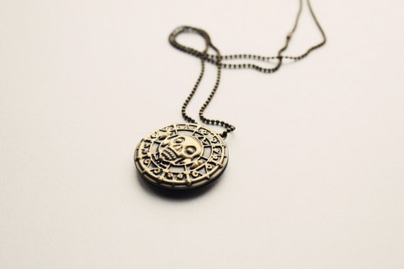Pirates of the Caribbean Pattern Gold Coin Locket Necklace