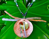 Dragonfly Necklace made from Copper, stainless steel wire, Czech glass beads, Swarovski crystals from Third Time's A Charm