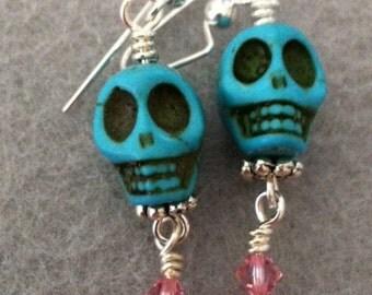 Turquoise Blue Howlite Skull Earrings