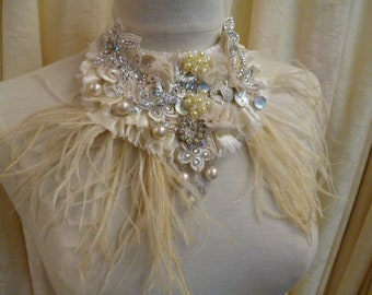 """Bridal Silk and Lace """"Lucky Love Birds"""" Showstopping Statement Collar Neckpiece Bib Necklace"""
