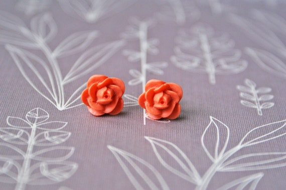 Orange Post Rose Flower Earrings - Titanium Hypoallergenic Studs