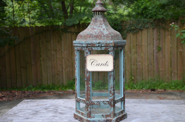 Rustic wedding lantern card holder lantern card box