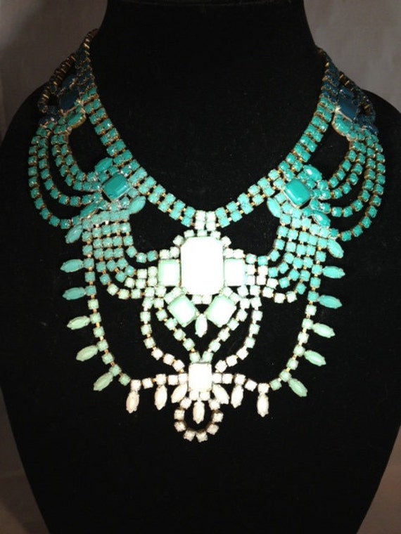 Hand Painted Vintage, One of a Kind, Turquoise Gradient Statement Necklace - Cote D'Azur