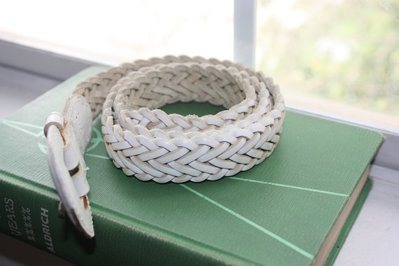 Vintage Genuine Leather Braided Woven Belt White