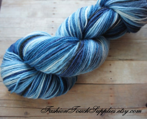 Hand Painted Yarn in Shades of Blue, White, Gray 393 yrds, Knitting Supplies, Crochet Supplies