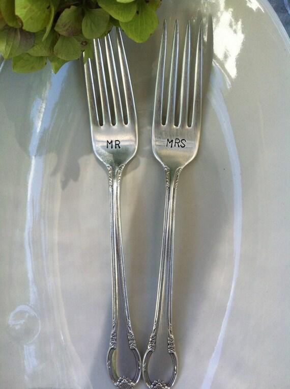 MR & MRS Personalized wedding forks-Custom vintage hand stamped forks