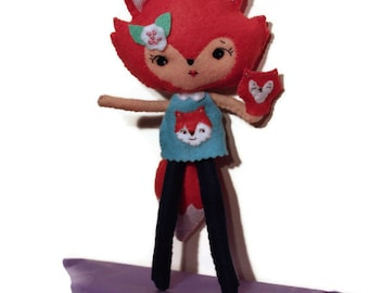 Orange fox doll - felt - posable with puppet - blue dress - flowers - fox girl doll