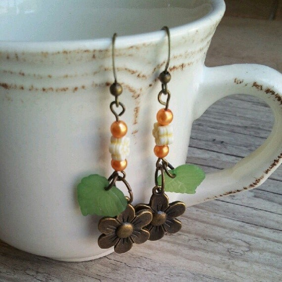 Long flower bohemian earrings, orange pearl earrings,leaf earrings, unique earrings,Drop earrings,