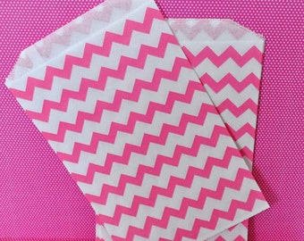 24 Pink Chevron Favor Bags - Paper Party Bags