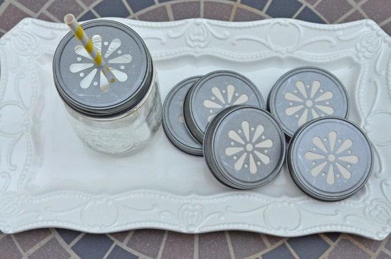 24 Pewter Daisy Cut Mason Jar Lids, Straws Lids, Rustic, Shabby Chic, Birthday, Wedding, Shower, Jar Lids, Mason Jar Lids,Shabby Chic Shower