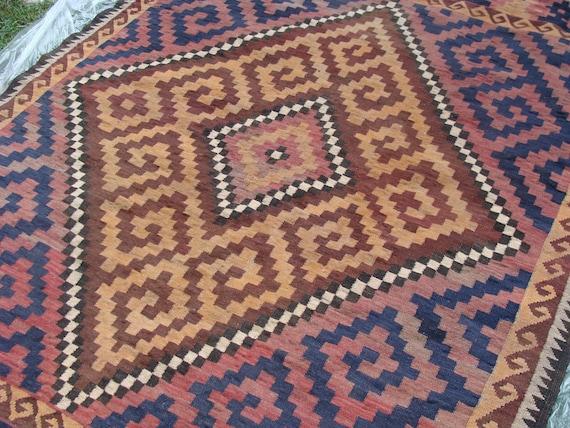 RESERVED FOR ALIX Vintage Turkish Kilim Area Rug Ornate Pattern Bohemian