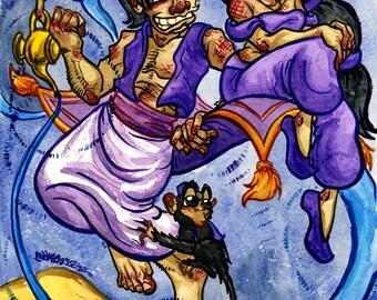 Aladdin, Jasmine, Abu, Genie, Disney, Original Watercolor Painting