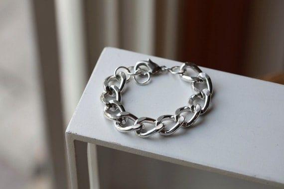 SILVER Chain Bracelet -Chunky MEDIUM Chain Link Bracelet - Chain bracelet