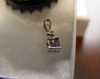 Tanzanite Diamond Accent White Gold Pendant.
