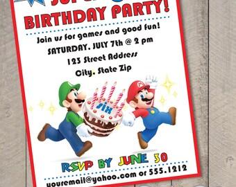 Super Mario Bros DIY Printable Birthday Invitation by Carta Couture