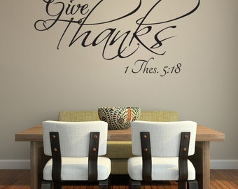 In Everything Give Thanks Vinyl Wall Decal Quotes Home Sticker Decor (J171)