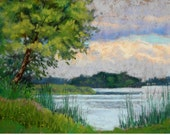 """Original Pastel Landscape Painting, thunderstorm, fishing, tree, boat,country scene, summer - """"Storm Clouds"""" by pastel artist Colette Savage"""