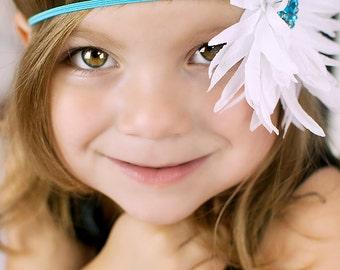 Baby Headband / White Flower Turquoise Skinny Elastic Headband  / Infant Headband / Photo Prop / Elastic Headband / Newborn Headband