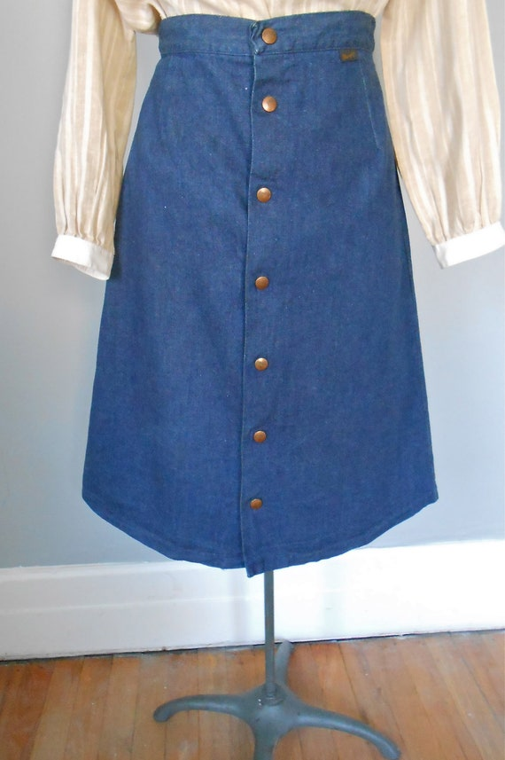 1960s wrangler denim skirt with snaps vintage womens by