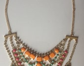 ON SALE - Vintage Style Gold Rhinestone Hand painted Customized Neon Turquoise/Yellow/Pink Bib Necklace, Tom Binns Style