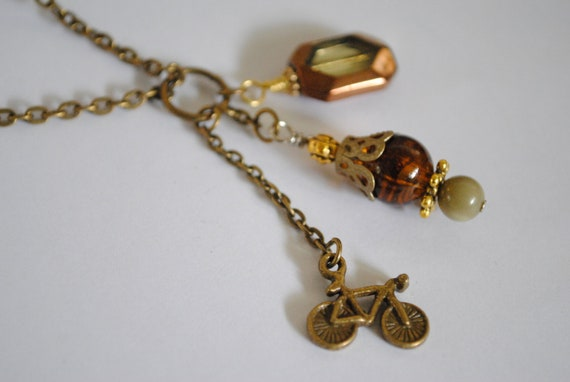 Bicycle Charms Fall Necklace - bike jewelry, fall 2012, bronze, brown bead, athletic